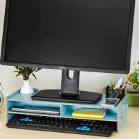 Rak Desktop Storage PC Komputer Meja Kayu Laptop Notebook Monitor Buku