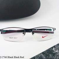 Frame Kacamata Metal Sport Nike 7602 C740 Black Black Red