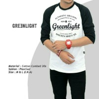 Jual KAOS RAGLAN GREEN LIGHT / KAOS DISTRO Murah