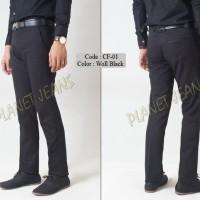 Jual Celana Bahan Kerja Model Slimfit Pria / Formal Cowok Slim fit CF1black Murah