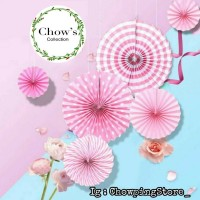 Paperfan / Paper Fan Black Set / Paper Flower Pink Set 6 in 1