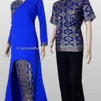 Jual Couple batik sarimbit gamis baju pasangan SRG 585 Murah