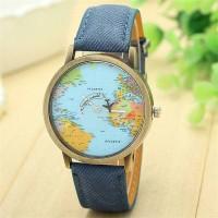 Jam Tangan maps / jam tangan globe GD1399 Biru
