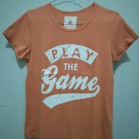 Jual Kaos/ T-Shirt Wanita Peach/ Orange Giordano Preloved Murah