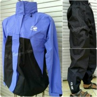 Jas Hujan Raincoat Jaket Claw hitam+biru muda Full Sealer satu stel