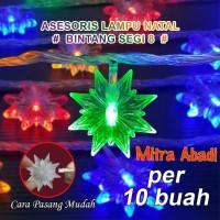 Aksesoris Hiasan Lampu Natal Model Bintang Segi 8 (1 SETT = 10 pcs)