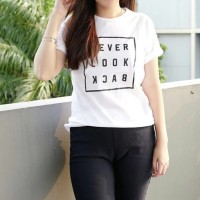 Kaos murah / T shirt murah NEVER LOOK BACK, White
