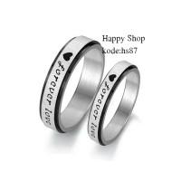 cincin couple kawin/bahan Titanium-free ukir nama