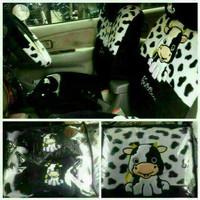 car interior Sarung Jok Full Set HONDA BRIO Motif MooSapi Hitam Putih