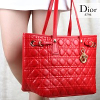 Tas Dior Panarea Shopping Tote Lambskin Merah Semi Ori 8796
