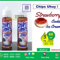 CHIPS UHUY STRAWBERRY COOKIE | 60 ml 3 mg | Liquid LOKAL PREMIUM
