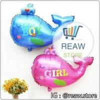 Balon Foil Baby Boy / Girl Motif Ikan Paus (40cm)