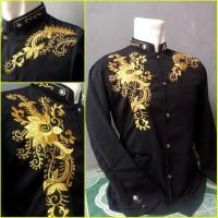 Jual jasko hitam motif mawar emas / kemeja koko Murah