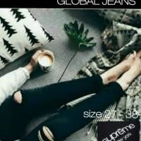 Jual Celana Jeans SUPREME Black Ripped Destroyed / Hitam Sobek Rawis Murah