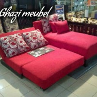 sofa L bed reclining tanpa tangan