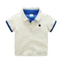 (B01331NO1) Polo Shirt Kemeja Anak Putih Biru Bintang