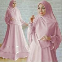 H [Syari Nora D Pink SW] gamis wanita jersey dusty pink