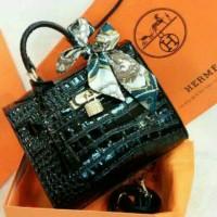 Tas Hermes Handbag Kelly Croco Glossy Small Diamond Padlock Murah