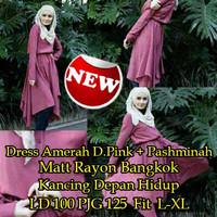 Jual HOT SALE [Dress Amerah D Pink+Pashmina SW] dress wanita rayon bangkok  Murah