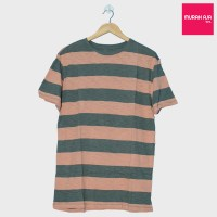 Baju Kaos Polos Fashion Strip - Orange Green Misty