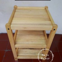 Jual Rak/Meja Kayu Susun 3 Dispenser/Magic Com Serbaguna Murah