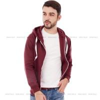 Jaket Hoodie Zipper BURGUNDY Polos PRIA M - XL