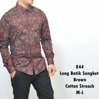 Baju Kemeja Pria Tangan Panjang Coklat Batik Songket Keren Gaya Trendy