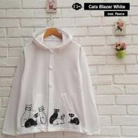Baju Atasan Wanita Sweater Cewek Putih Fleece Cats Blazer White Cardie