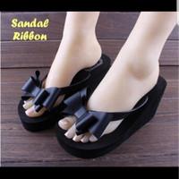 sendal sandal wedges ribbon pita black ( tinggi 5,5 cm nyaman)