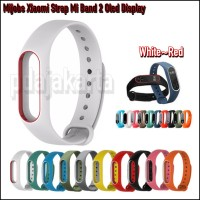 Mijobs Xiaomi Strap Mi Band 2 Oled Display Original - White-Red