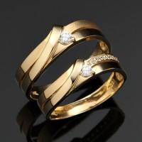 Cincin Couple Perak Lapis Emas LK-06 Exclusive Pernikahan dan Tunangan