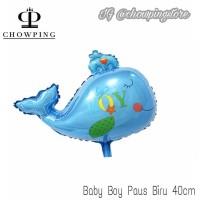 Balon Paus Biru Baby Boy 40cm