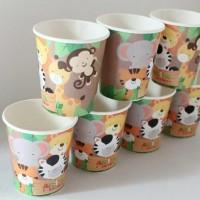 Jual Gelas kertas jungle animals / papercup jungle animals termasuk sedotan Murah