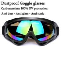 Dustproof goggle glasses kacamata motor touring anti debu UV protect