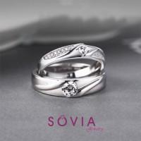 cincin kawin Emas putih 75% dan palladium 50% / cincin lamaran unik