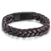 Genuine Leather Bracelet Titanium Steel Gelang Kulit Asli Pria Cokelat