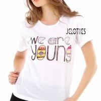 Kaos Wanita / Tumblr Tee Lengan Pendek We Are Young - Putih