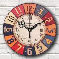 Jam Dinding Motif Vintage Plat Number - Handicraft Wall Clock - KAtz