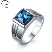 Cincin pria titanium blue sapphire/cincin cowok permata biru/batu biru