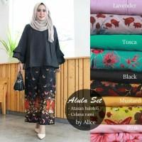 Atasan Wanita Blouse polos Baju Celana Kulot motif Setelan alula hitam