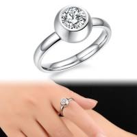 cincin single wanita permata, terbuat dari titanium asli ,anti pudar