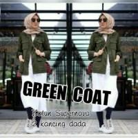 Jual Atasan Blouse Tunik Wanita Baju Muslim Green Coat Murah