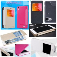 Oppo R7 Lite R7 - Nillkin Sparkle Leather Case Flip Cover Sarung Hp