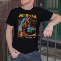 Kaos Kece Helloween BETTER THAN RAW Men Black T-shirt Metal Band Tee S