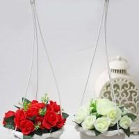 Jual 1 SET ISI 2 bunga plastik hias artifisial mawar + pot gantung shabby 2 Murah