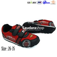 Sepatu Cars / Sepatu Sekolah Cars Hitam kombinasi Merah [26-35] Velcro