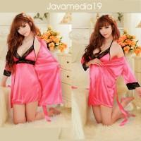 Jual Lingerie kimono sexy silky satin pink | baju tidur | Gaun | Sleep wear Murah