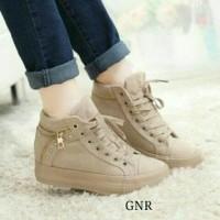 Jual Sepatu Sneaker Wedges Boot Kets Tali Coklat Mocca Murah Murah