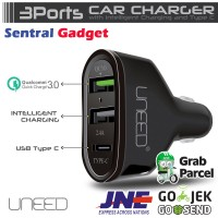 Car Charger Uneed Qualcomm Quick Charge 3.0 + Type-C Garansi Resmi