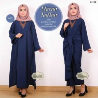 Long Dress Maxi Wanita Muslim Ikat Uttaran Kaftan biru XL